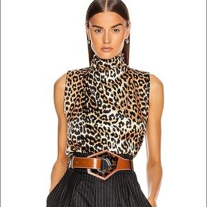 NWT Ganni Mock Neck Leopard Sleeveless Top